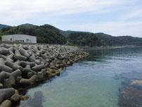 宇田港 左側の護岸の写真