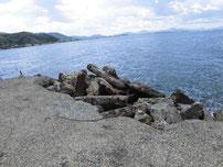 吉見 古宿町の波止 崩れている部分の写真
