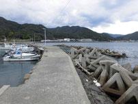 野波瀬漁港の右奥 室生野波止の写真