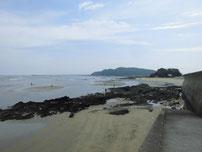 蓑島海水浴場 右側の砂浜の写真