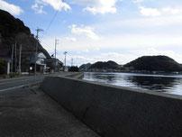 田ノ浦漁港 通漁港側の道路の写真