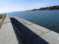 有帆川河口 左側の梯子の写真