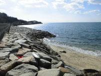 花香漁港 左側の護岸の写真