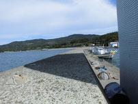掛淵漁港 波返しの上の写真
