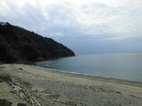 西浦漁港 砂浜の写真