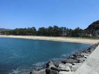 大井浦漁港 右側の砂浜の写真