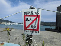 伊上漁港 立入禁止看板の写真