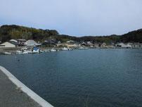肥中漁港 右側の護岸の写真