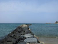 橋本川河口 砂浜の波止の写真