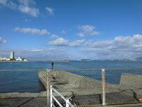 日明海峡釣り公園 駐車場横 小波止 の写真