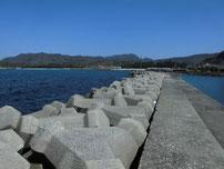 大井浦漁港 左側の波止の写真