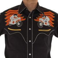 Handmade Western Shirt embroidered SAF#533 Neon Night, PA