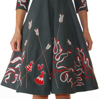 Attack! embroidered dress hunter green