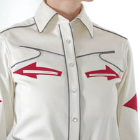 Indecisive Red Western Shirt with appliqué ecru