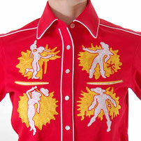 Dancing Cowgirls embroidered Western Shirt red