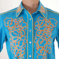 Eschscholzia Californica embroidered Western Shirt blue