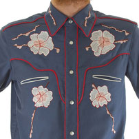 Handmade Western Shirt embroidered SAF#266 Poppy Tears