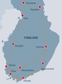 lange Route über Rovaniemi