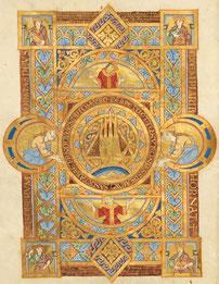 Uta-Codex, Evangelistar, Regensburg, 11. Jahrhundert: Das Dreieck als Symbol für die Trinität