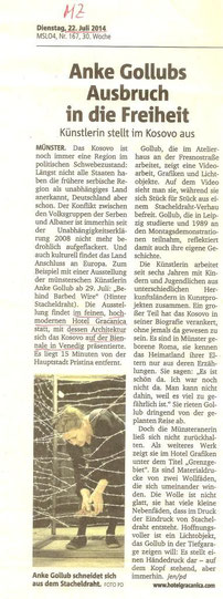 Article in the Münstersche Zeitung about the exhibition of Anke Gollub at Hotel Gracanica, Pristina: Behind Barbed Wire
