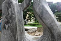Im Park mit vielen Tieren,den hundert Millionen Jahre alten Steinen