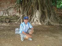eingewurzelte Buddhastatue