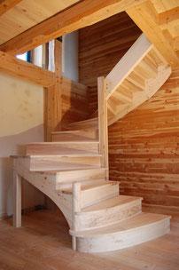 escalier quart tournant frene massif previdoli sylvain