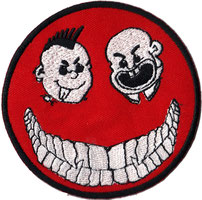 Mad SMILEYS Bootboys Punk Anarchy Ultras Hooligans Biker Rockabilly Patch Aufnäher, Angry embroidered Smiling Face