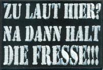 Zu-gallery-Laut-Hier-Halt-Die-Fresse-Biker-Rockabilly-Punk-Heavy-Metal-Patch-Aufnaeher-Abzeichen Aufnäher Patch Abzeichen, gesticktes Embleme Label