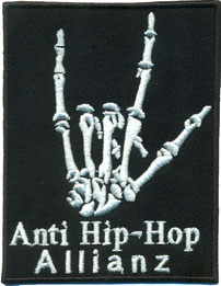 Anti Hip-Hop Allianz, Heavy Metal Skelett Hand, Patch Aufnäher