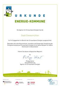 Urkunde Energie Kommune
