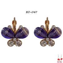 Boucles d'oreilles papillons pendants violets et dorés