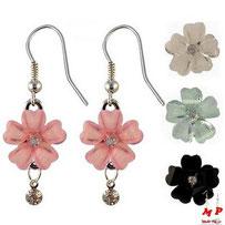 Boucles d'oreilles fleures noires pendantes