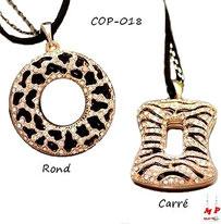 Collier à pendentif rond ou carré zébrés dorés et noirs sertis de strass