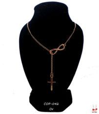 Collier doré multi-symboles infini et croix pendante