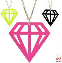 Collier à pendentif diamant couleurs fluo jaune, noir ou rose