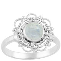 925 sterling zilver flower ring rainbow moonstone