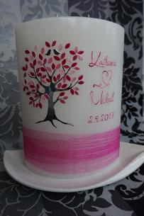 Kerze Lebensbaum Hochzeit Ringe
