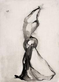 舞11 DANCER  11   180X130CM  布面水墨与丙烯 INK & ACRYLIC ON CANVAS  2003