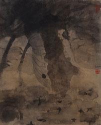 荷花40 LOTUS 40 56X46CM 纸本水墨与矿物色 INK & MINERAL COLOR ON PAPER 2004 (收藏于香港 COLLECTED IN HONG KONG)