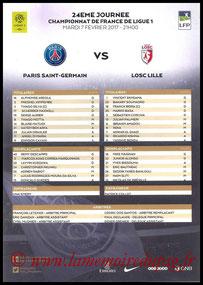 Feuille de match  PSG-Lille  2016-17