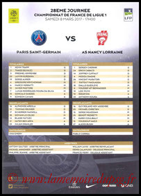 Feuille de match  PSG-Nancy  2016-17