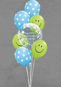Luftballon Geschenk Ballon Bubble Bouquet Strauß Smiley Kopf Geburtstag Party Kindergeburtstag Deko Dekoration witzig verschicken personalisiert mit Namen