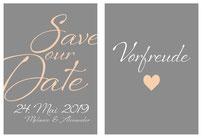 Bild Beispiel Grafik-Design und Print Postkarte Hochzeit Save-our-Date-Karte beide Seiten.