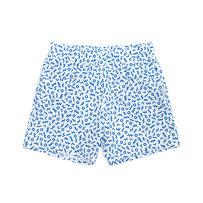 kurze Hose mit Gummibund und eckigen seitlichen Eingriffstaschen, aus leichter weißer Baumwolle mit dunkelblauem Zickzack- und Kreismuster
