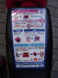 利用方法は自転車の泥除けにも記載してある。交通系ICカードを鍵のかわりとして利用する。