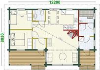Singlehaus Müritz - Grundriss - Wohnblockhaus - Holzhaus Bungalow - nachhaltig -  umweltfreundlich