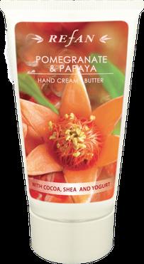 Refan Handcreme mit dem fruchtigen Duft des Granatapfel und der Papaya pflegt ihre Hände mit der Wirkung der Sheabutter und Kakaobutter