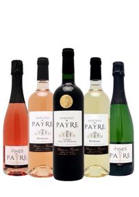 Bouteilles représentatives de la gamme du château du Payre, avec 1 vin rouge, 1 vin blanc, 1 vins rosé et 1 crémant à chaque extrémité (le rosé à droite et le blanc de blanc à gauche)