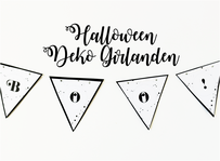 Bild: DIY Halloween Dekoration - mit dieser Anleitung und gratis Bastelvorlage als Freebie Printable ganz einfach eine schöne Halloween Party Girlande aus Papier basteln // Halloween Ideen vom Kreativblog www.partystories.de